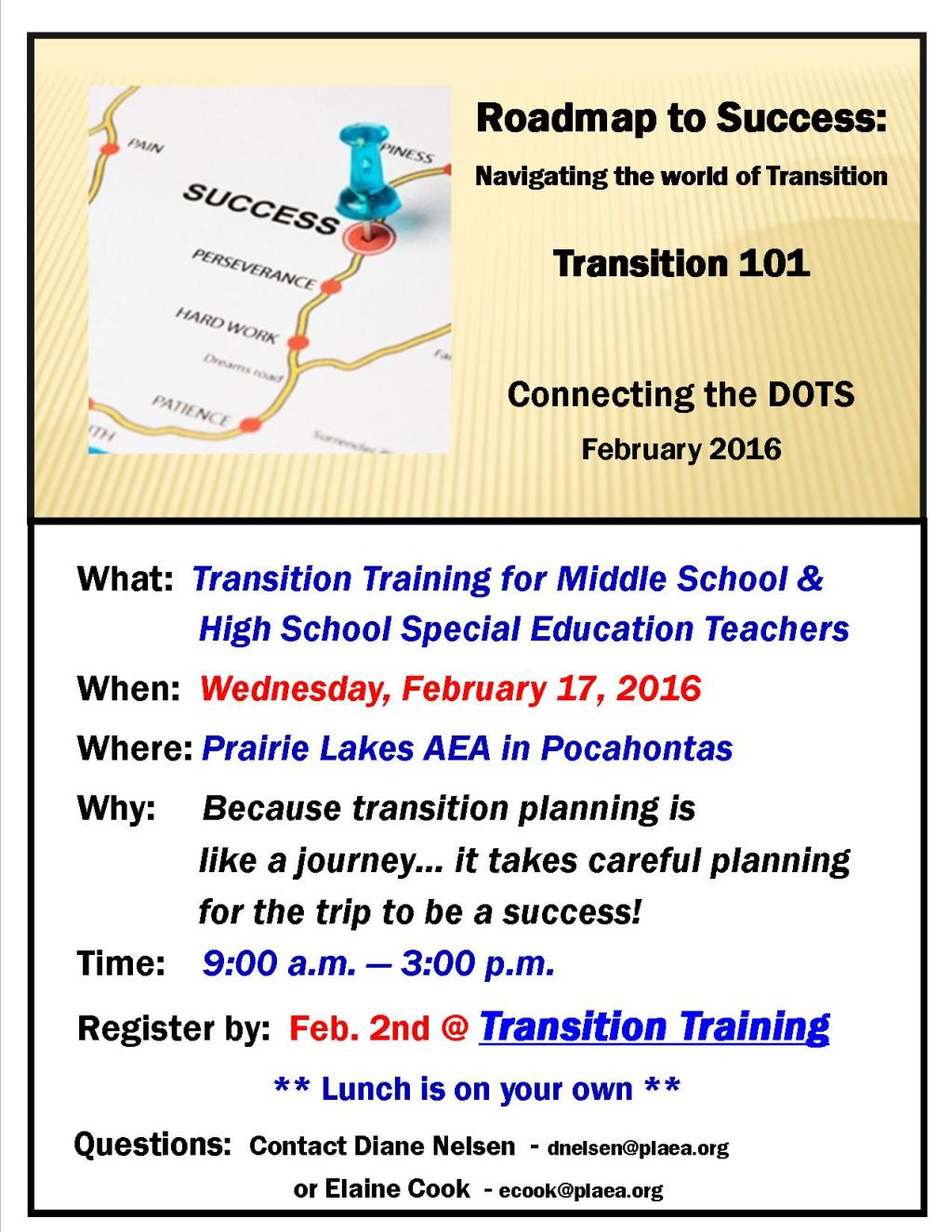 Transition Teacher Training flyer - Feb. 2016