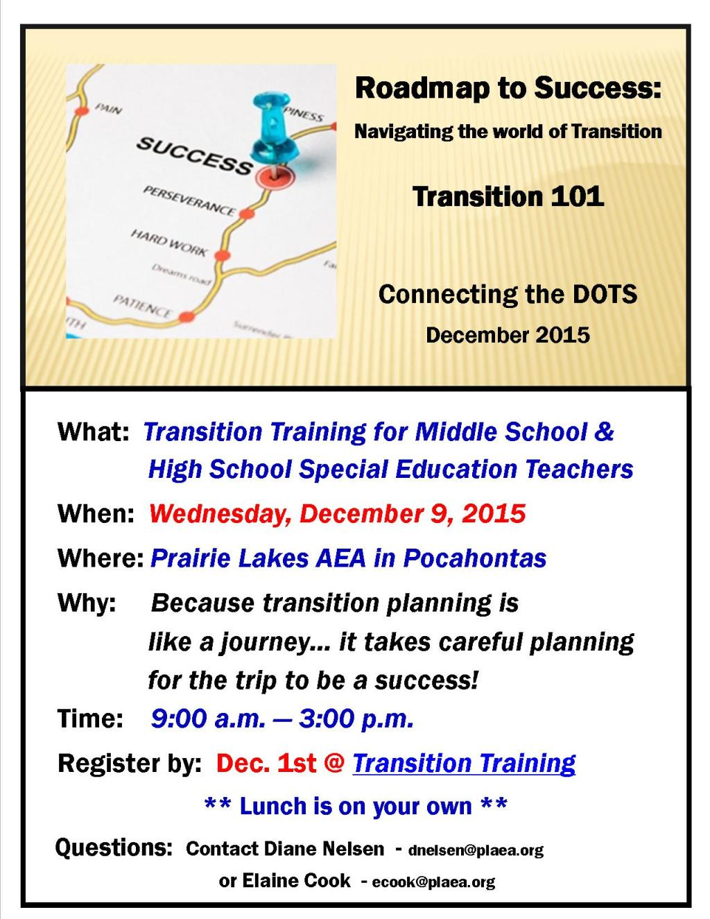Transition Teacher Training flyer