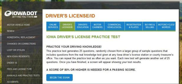 iowa dmv driver practice test